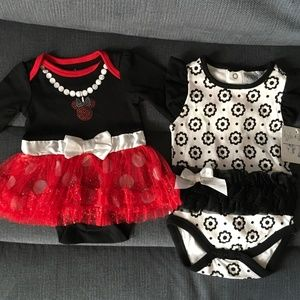 BNWT'S Adorable Minnie Mouse and B&W Onesie